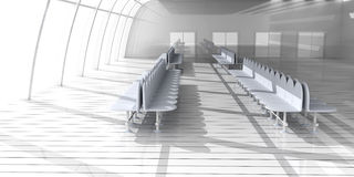 Airport Hallway. 3D rendered Illustration. Airport Hallway Royalty Free Stock Photo
