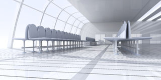 Airport Hallway. 3D rendered Illustration. Airport Hallway Stock Photo