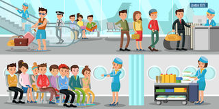 Airport Horizontal Banners. With people in departure lounge passengers and stewardesses on air flight vector illustration vector illustration