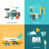 Airport Icon Flat. Airport design concept set with customs control and online booking flat icons isolated vector illustration royalty free illustration
