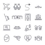 Airport icon set, airport management icons, aerial transportation icons plane, seat, airway, rechange, suitcase and other. Icon se Royalty Free Stock Photos