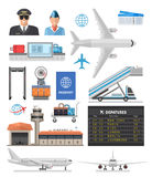 Airport Icon Set. With pilot, stewardess, aircraft and equipment for travel  vector illustration Royalty Free Stock Photography