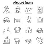 Airport icon set in thin line style Royalty Free Stock Images