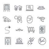 Airport icon set. Universal airport and air travel icons airplane,baggage, boarding, flight, passport, security, takeoff, air way,. Seat belts, no smoking Stock Images