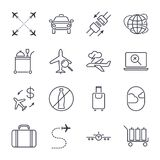 Airport icon set. Universal airport and air travel icons. Airway, luggage, food, airplane, seat belt and others. Vector illustrati. On. Icon set with  stroke Stock Images