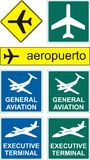 Airport icons. Set of various airport and aviation icons Stock Images