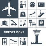 Airport Icons Black Set Royalty Free Stock Photography