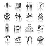 Airport icons black and white set Stock Photos