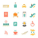 Airport icons flat set with baggage check airplane Royalty Free Stock Images