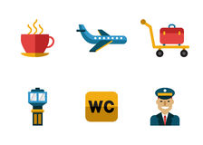 Airport Icons Flat Set Royalty Free Stock Images