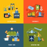 Airport Icons Flat Stock Photo