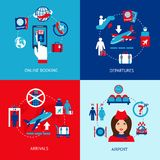 Airport icons flat set Stock Image