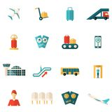Airport Icons Flat Royalty Free Stock Photo