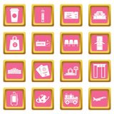 Airport icons pink Stock Images