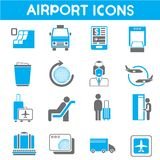 Airport icons. Set of 16 airport icons Stock Images