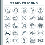 Airport Icons Set. Collection Of Accessibility, Money Trasnfer, Hostess And Other Elements. Also Includes Symbols Such. Airport Icons Set. Collection Of Royalty Free Stock Photography