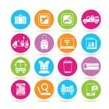 Airport icons. Set of 16 airport icons in colorful buttons stock illustration