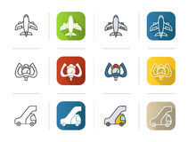 Airport icons set. Flat design, linear and color styles. Aircraft, control wheel, passengers ladder symbol. Isolated Royalty Free Stock Image