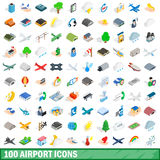 100 airport icons set, isometric 3d style. 100 airport icons set in isometric 3d style for any design vector illustration Royalty Free Illustration