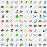 100 airport icons set, isometric 3d style. 100 airport icons set in isometric 3d style for any design vector illustration Stock Illustration