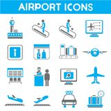 Airport icons. Set of 16 airport management icons Royalty Free Stock Photography