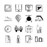 Airport icons. Set of 16 airport icons in sketch and pencil line Royalty Free Stock Image