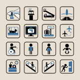 Airport icons set. Stock Photos