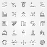 Airport icons set - vector thin line air travel symbols. Airport Stock Photography