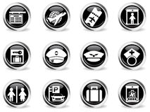 Airport icons set Royalty Free Stock Photos