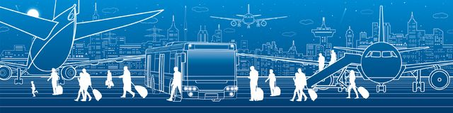 Free Airport Illustration. Aviation Transportation Infrastructure. The Plane Is On The Runway. Passengers Board An Airplane From The Bu Stock Photos - 125215533
