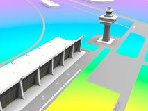 Airport illustration. 3D render illustration of an airport. The field is colored with different colorful colors Royalty Free Stock Photos
