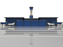 Airport illustration. 3D render illustration of an airport with a takeoff runway and control tower. The object is isolated on a white background Stock Photography