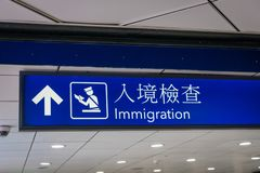 Airport immigration icon and signboard in English and Chinese. Characters stock images