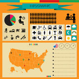 Airport info graphic. Conceptual airport infographic for U.S.A royalty free illustration