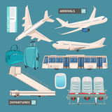 Airport info graphic set with business jet, passenger bus, cute airport icons and signs Royalty Free Stock Photos