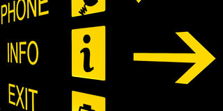 Free Airport Info Sign In Black And Yellow Stock Photography - 17472362