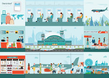 Airport  infographic of Passenger airline at airport terminal. Stock Photos