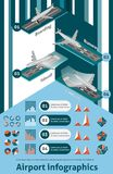 Airport Infographic Set. With isometric boarding runway takeoff landing elements and charts vector illustration vector illustration