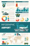 Airport Infographics Set. With travel symbols and charts vector illustration royalty free illustration