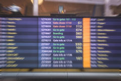 Airport information board , arrival and departure display Royalty Free Stock Photos