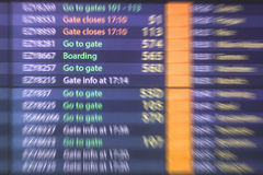Airport information board , arrival and departure display Royalty Free Stock Image