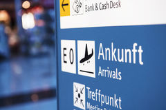 Airport information sign Stock Photo