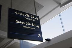 Airport Interior. Architecture, Directions Sign And Glass Facade royalty free stock photo