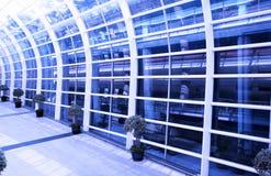 Airport Interior, Hong Kong. Modern Airport Interior, Architecture in Hong Kong, China - Blue Toning royalty free stock images