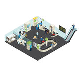 Airport Interior Isometric Concept. With passengers staff check-in counter terminal customs control departure lounge vector illustration stock illustration