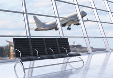 Airport interior side. Side view of airport interior with seats, framed windows with city view and an airplane flying by. 3D Rendering Royalty Free Stock Images