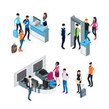 Airport Isometric Concept. With passengers and travelers before boarding and after arrival isolated vector illustration vector illustration