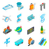 Airport isometric 3d icons. Set isolated on white background Royalty Free Stock Image