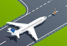 Airport Isometric Illustration. Plane on takeoff strip and airport employee 3d isometric vector illustration Stock Photography