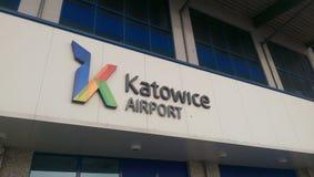 Airport Katowice - sign. KATOWICE / PYRZOWICE, POLAND Katowice International Airport in Pyrzowice. Terminal building royalty free stock photos